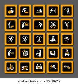 Set of pictograms for indoor sport and leisure activities in orange and white on black