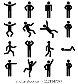 Set of pictograms with people/ poses/ silhouettes - 16 illustrations.