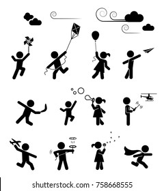Set of pictograms representing children playing and having fun. Amusing outdoor activities for kids.