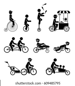 Set of pictograms representing people riding various types of bicycles.
