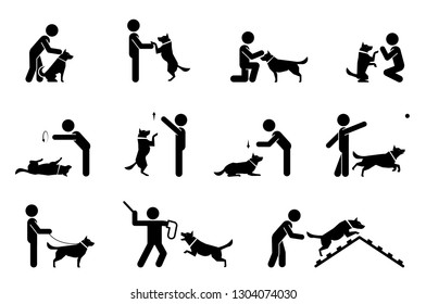 Set of pictograms representing relationship and bond between dogs and their owners. Puppy training. Training dogs on polygon.
