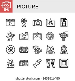 Set of picture icons such as Easel, Clapperboard, Placeholder, Camera, Design, Artboard, Selfie, Photographer, Picture, Film roll, Cinema camera, No food, Old video camera , picture
