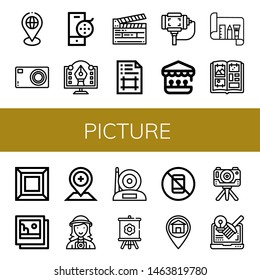 Set of picture icons such as Placeholder, Compact camera, Film reel, Graphic design, Clapperboard, Artboard, Selfie stick, Shooting gallery, Design, Photo album, Art , picture