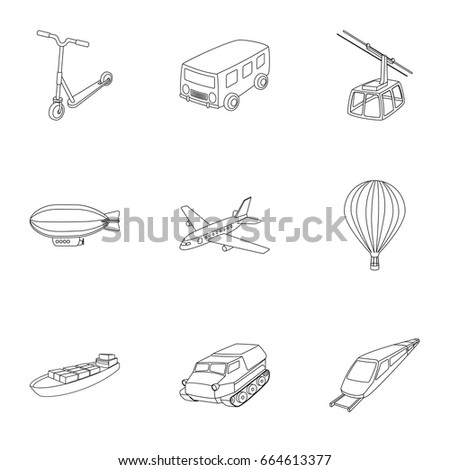 Set Pictures About Types Transport Transportation Stock Vector