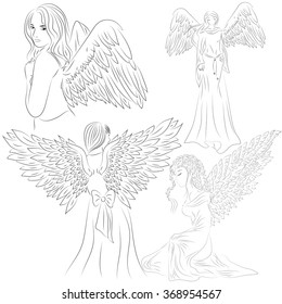 Set pictures of angels in a doodle and cartoon style