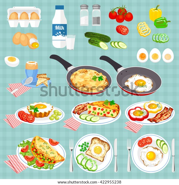 Set Pictures Cooked Eggs Vector Colorful Stock Vector