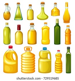 Set of pictures of different types of oil for cooking. Group bottles. Isolated vector illustration.