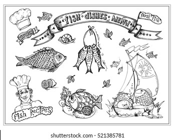 Set of pictures fish and seafood. Drawings can be used to design menu restaurant, posters, stickers, badges. Each drawing - a separate element.