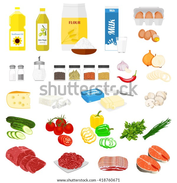 Set Pictures Food Cooking Recipes Vector Stock Vector