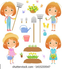 Set of pictures on the theme of floriculture. A girl with a rake, a girl with seedlings, a girl with a watering can, a girl with a basket of flowers, as well as a flower bed and items for floriculture
