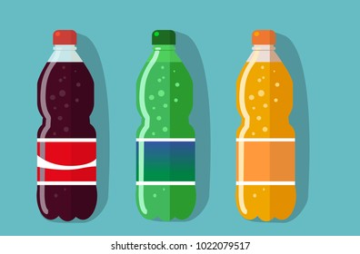 set of pictures plastic bottle of coca cola, sprite, fantasy (orange soda). Flat vector illustration.