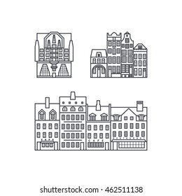 Set of pictures from the townhouses in the fashionable linear style