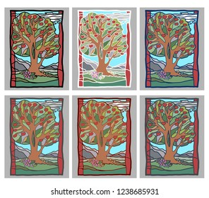 A set of pictures. Trees Different pictures with trees. Landscape with trees. Vector illustration. Vector trees with apples. Apples. Red apples