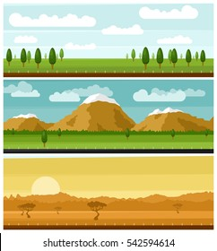 A set of picturesque landscapes. Forest, mountain and African landscapes