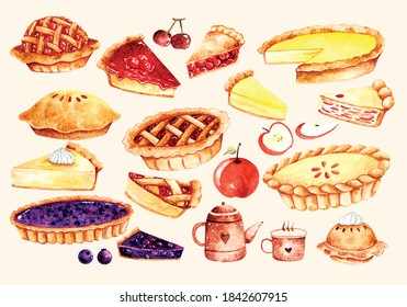 set of pie cake in water color style vector illustration
