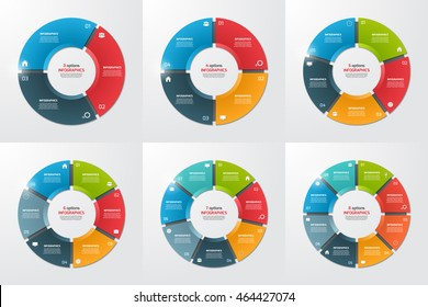 Set of pie chart circle infographic templates with 3, 4, 5, 6, 7, 8 options. Business concept. Vector illustration.