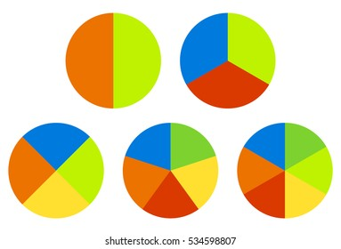 Set pie chart, graphs in 2,3,4,5,6 segments. Segmented circles. Colorful icons.