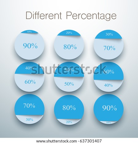 Set Pie Charts Different Percentage Stock Vector Royalty Free