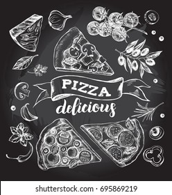 Set of pieces of delicious pizza and pizza ingredients. Food elements collection. Vector ink hand drawn illustration with lettering. Template for menu, signboard, cards, banners, posters design.