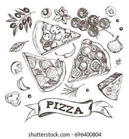Set of pieces of delicious pizza and pizza ingredients. Food elements collection. Vector ink hand drawn illustration. Template for menu, signboard, cards, banners, posters design.