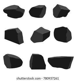 A set of pieces of fossil stone brown and black coal of various shapes with different illumination of the surface