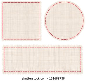 Set of pieces of woven fabric with embroidered red border