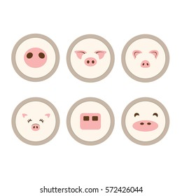 set of pig face icons