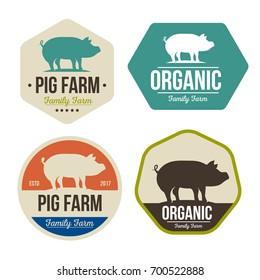 Set of Pig farm fresh pork meat emblems design , logo, label, symbol.Vector illustration