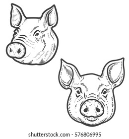 Set of pig heads isolated on white background. Pork meat. Design element for logo, label, emblem, sign, poster. Vector illustration.