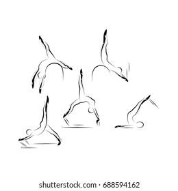 Set of Pilates poses
