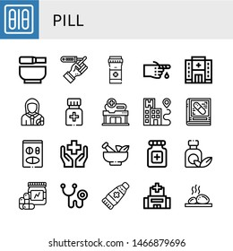 Set of pill icons such as Blister pack, Mortar, Diabetes, Pills, Bandage, Hospital, Pharmacist, Medicine, Pharmacy, Health, Vitamins, Phonendoscope, Ointment, Lithotherapy , pill