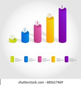 A set of pillars for infographics, different shades, honeycomb