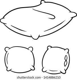 Set of pillows for sleeping. Element of the bedroom. Black and white set of hand-drawn illustrations. Different cushion