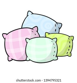 Set of pillows. Soft colored cushions in blue, green and pink. Element of bedroom and bed for sleep. Large and small object. Cartoon flat illustration