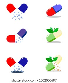 Set pills icon. Nutraceuticals logo design. Phytopreparations vector design.Pills capsules icon-medical illustration-pills isolated-pharmacy. Vector