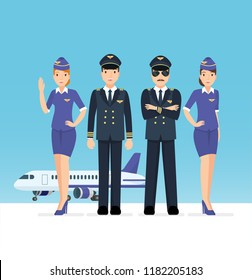 Set of pilot and airplane crew at the airport