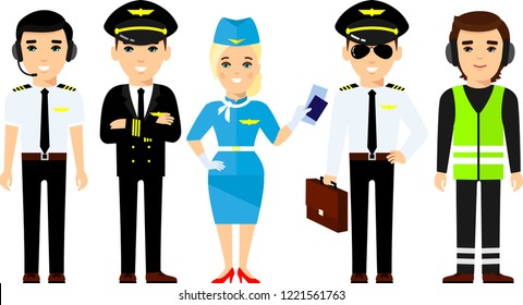 Set of pilot, captain, stewardess in different poses, care for passengers. Group of flat cute cartoon pilot, air hostess holding airplane tickets.