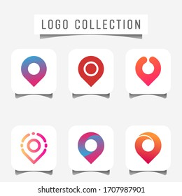 set of pin Location icon vector.