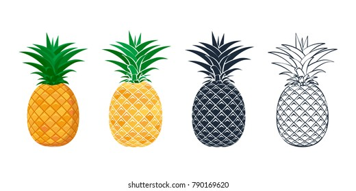Set of pineapple icons in a flat style. Contour, outline and stylized pineapples. Design for textiles, packaging, banner, poster. Vector illustration.