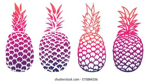 Set of pineapple illustrations isolated on white background. Design elements for logo, label, emblem, sign. Vector illustration.