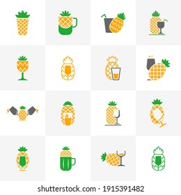 Set of Pineapple logo design vector. Icon Symbol. Template Illustration. Creative design