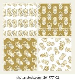 Set of Pineapple patterns. Vector illustration