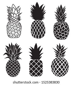 Set of pineapples.Collection silhouettes of an exotic fruit.Fresh vitamins.Black and white illustration pineapple for print .