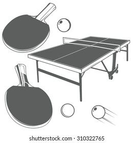 Set of ping pong monochrome design elements in vintage style: ping pong table, ping pong racket, ping-pong small ball.