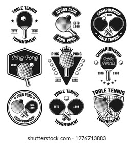 Set of ping pong or table tennis vector black emblems, labels, badges, logos isolated on white background