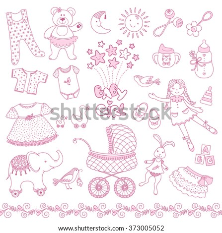 fd136f8a4 Set Pink Baby Girl Things Vector Stock Vector (Royalty Free ...