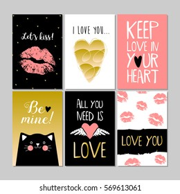 Set of pink, black, white, gold colored Valentine's day card with kiss, hearts and cat. Flyer templates with lettering. Typography poster or card, label, banner design collection. Vector illustration