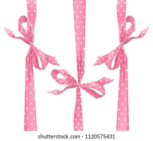 A set of pink bows with a pattern in a circle for decorating gifts or for a greeting card. Vector cartoon elements for decoration on white background.