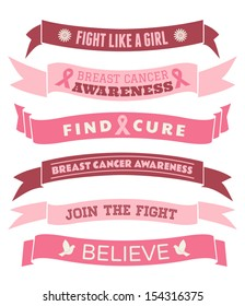 A set of pink Breast Cancer Awareness banners and ribbons isolated on white.