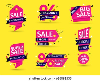 Set of pink colored stickers and banners. Geometric shapes and confetti. Big set of beautiful discount and promotion banners. Advertising element. Sale banner tag.  Vector illustration.
